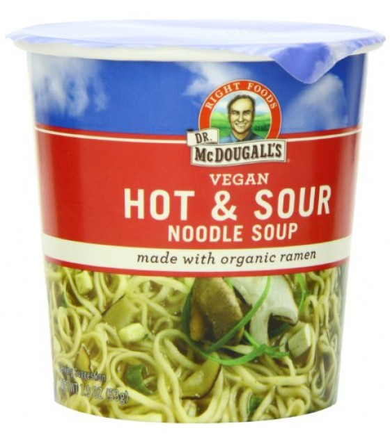[Dr. Mcdougall`S] Big Cup Soups Hot & Sour, Cantonese w/ Noodles  At least 70% Organic