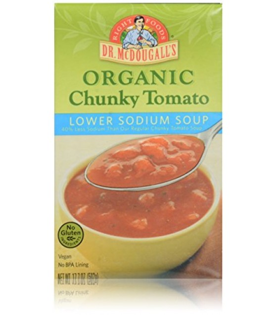 [Dr. Mcdougall`S] Ready To Serve Aseptic Soups Chunky Tomato, Lower Sodium  At least 95% Organic