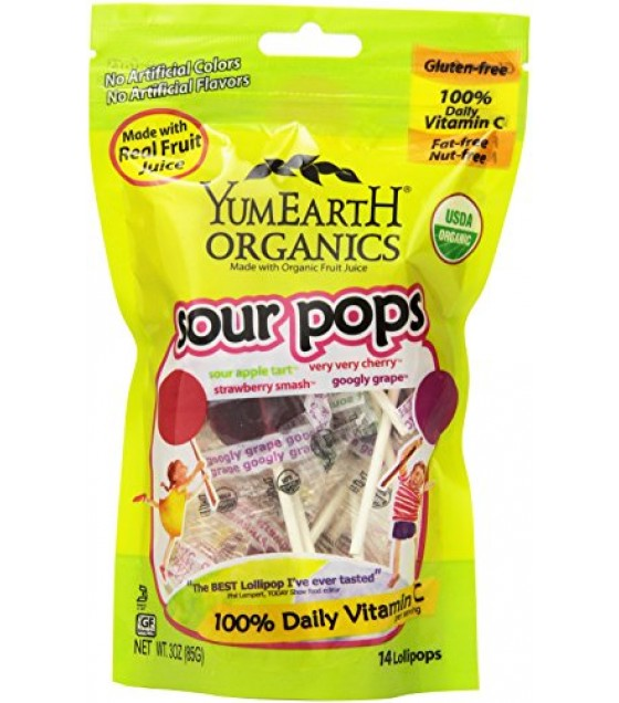 [Yumearth Organics] Lollipops Super Sour/Stand Up Pouch  At least 95% Organic