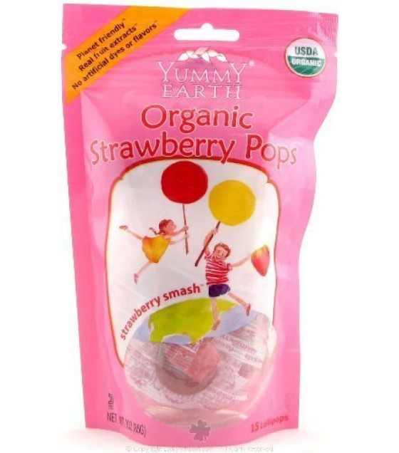 [Yumearth Organics] Lollipops Strawberry Smash/Stand Up Pouch  At least 95% Organic