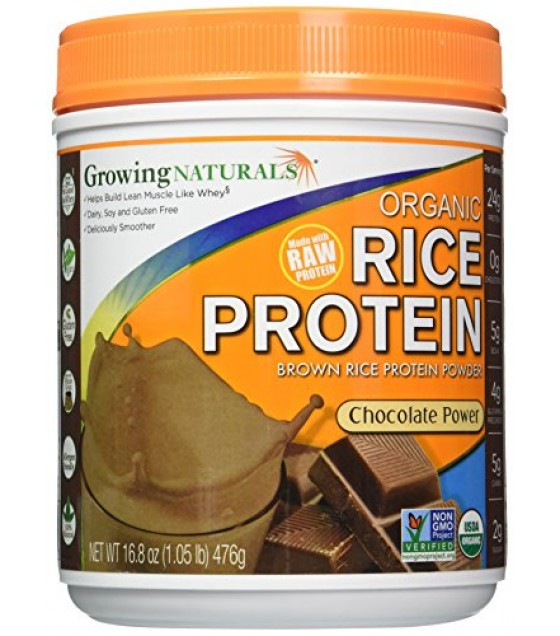 [Growing Naturals] Rice Protien Powder Raw, Chocolate Power  At least 95% Organic