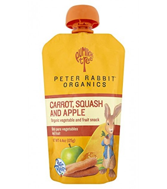 [Peter Rabbit Organics] Vegetable & Fruit Blends Snacks Carrot, Squash & Apple  At least 95% Organic