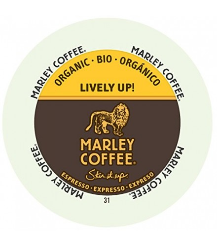 [Marley Coffee] Coffee-Real Cups-Single Serves Lively Up, Medium Dark Roast  100% Organic