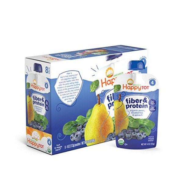 [Happy Tots] Fiber & Protein-Fruit & Veggie Blend Pear, Blueberry & Spinach  At least 95% Organic