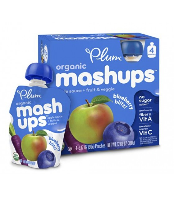 [Plum Kids] Fruit & Veggie Mashups Blueberry Blitz  At least 95% Organic