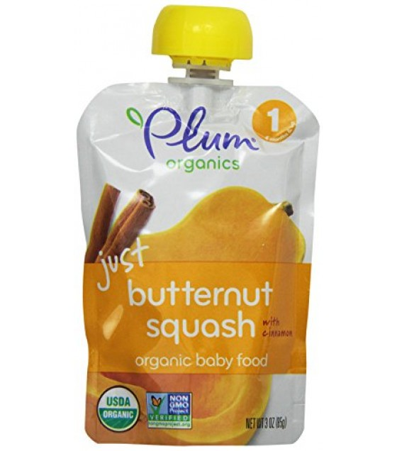 [Plum Organics] Baby Food, Stage 1 Meals Just Veggies, Btrntsq w/Cinnamon  At least 95% Organic