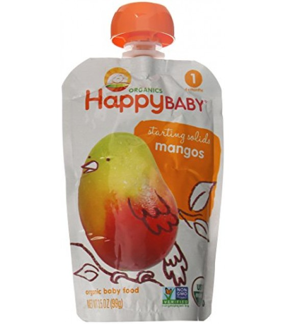 [Happy Baby] Stage 1 Pouch Foods Mangos  At least 95% Organic