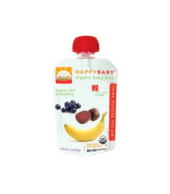 [Happy Baby] Stage 2 Pouch Foods Bananas, Beets & Blueberries  At least 95% Organic