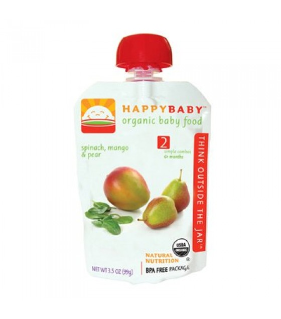 [Happy Baby] Stage 2 Pouch Foods Spinach, Mango & Pear  At least 95% Organic