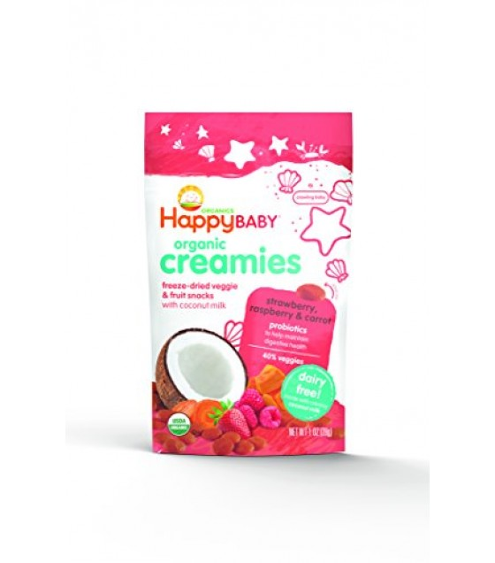 [Happy Creamies] Fruit & Veggie Snack, Non Dairy Strawberry Raspberry  At least 95% Organic