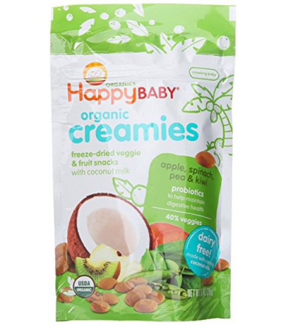 [Happy Creamies] Fruit & Veggie Snack, Non Dairy Apple Spinach Pea & Kiwi  At least 95% Organic