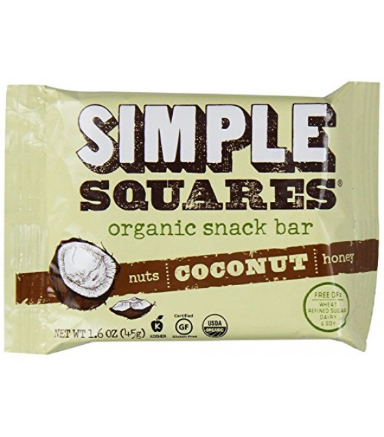 [Simple Squares] Whole Food Snack Bar Honey & Nut Coconut  At least 70% Organic