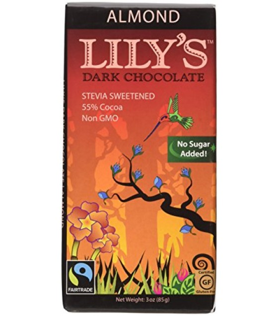 [Lily`S Sweets] Stevia Sweetened Chocolate Bars Dark, Almond