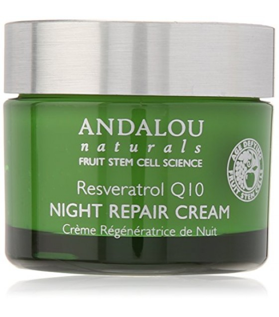 [Andalou Naturals] Facial Care Night Repair Crm, Resveratrol Q10