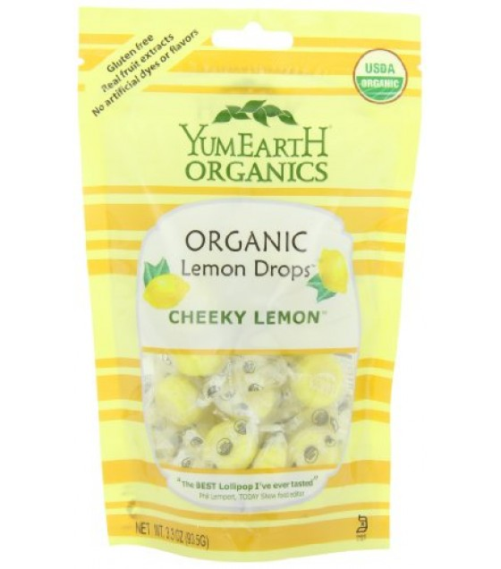 [Yumearth Organics] Candy - Drops Cheeky Lemon, Stand Up Pouch  At least 95% Organic