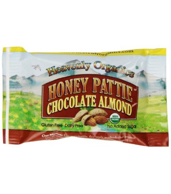 [Heavenly Organics] Natural Candy Raw Honey Pattie, Almond Chocolate  At least 95% Organic