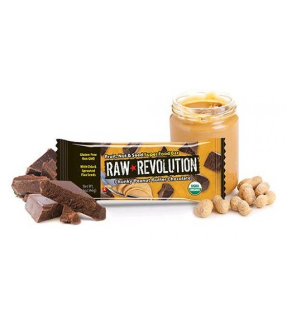 [Raw Revolution] Organic Super Food Bars Chunky Peanut Butter Chocolate  At least 95% Organic
